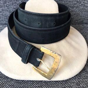 YSL Black leather belt. No stamps. Size S